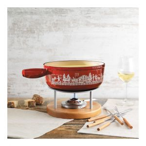 Cheese fondue set induction cast iron red Alpine Meadow 24cm