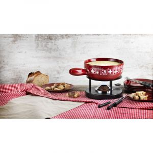 Cheese Fondue Set Swiss Red Clay