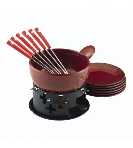 Cheese Fondue Set Swiss Cross Red Clay
